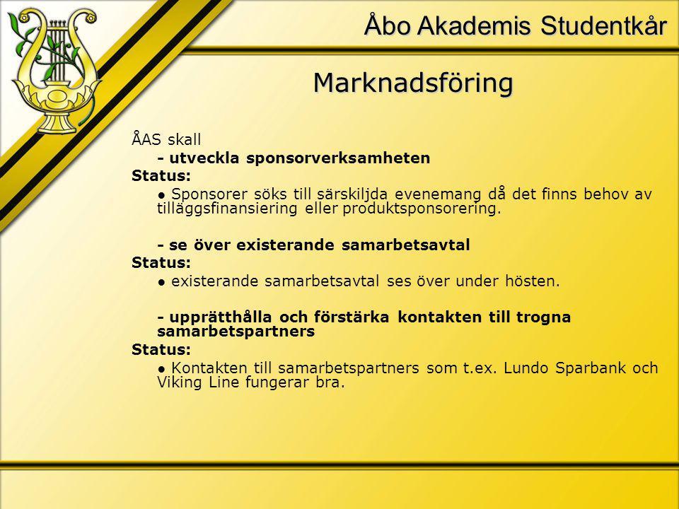 Åbo Akademis Studentkår Marknadsföring ÅAS skall - utveckla sponsorverksamheten Status: ● Sponsorer söks till särskiljda evenemang då det finns behov av tilläggsfinansiering eller produktsponsorering.