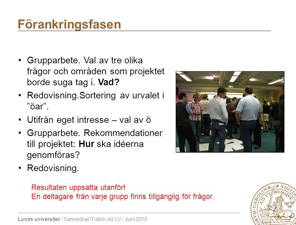 Lunds universitet / Samordnat IT-stöd vid LU / Juni 2010 Förankringsfasen Grupparbete. Val av tre olika frågor och områden som projektet borde suga ta