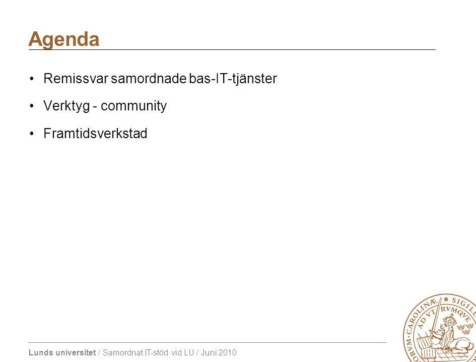 Lunds universitet / Samordnat IT-stöd vid LU / Juni 2010 Agenda Remissvar samordnade bas-IT-tjänster Verktyg - community Framtidsverkstad