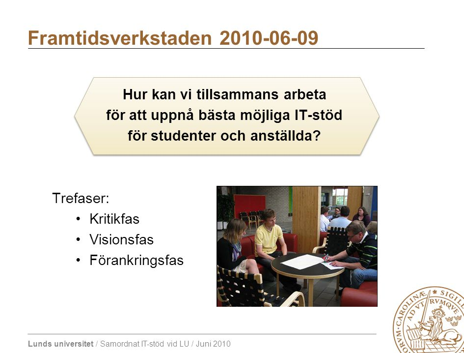 Lunds universitet / Samordnat IT-stöd vid LU / Juni 2010 Kritikfasen Probleminventering - brainstorm.