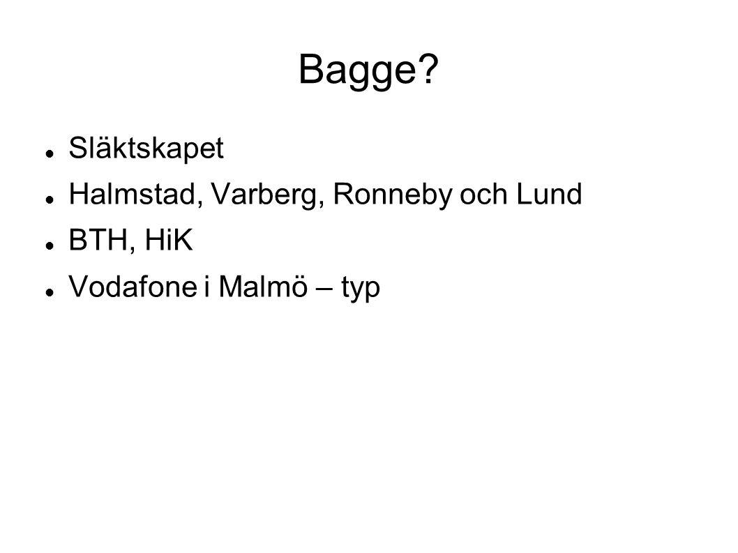Bagge? Släktskapet Halmstad, Varberg, Ronneby och Lund BTH, HiK Vodafone i Malmö – typ