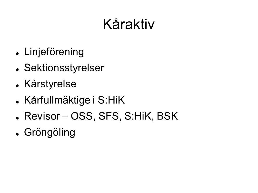 Kåraktiv Linjeförening Sektionsstyrelser Kårstyrelse Kårfullmäktige i S:HiK Revisor – OSS, SFS, S:HiK, BSK Gröngöling