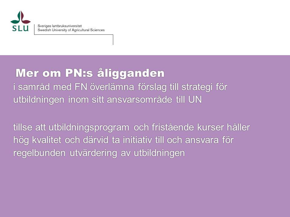 Mer om PN:s åligganden i samråd med FN överlämna förslag till strategi för utbildningen inom sitt ansvarsområde till UN i samråd med FN överlämna förs