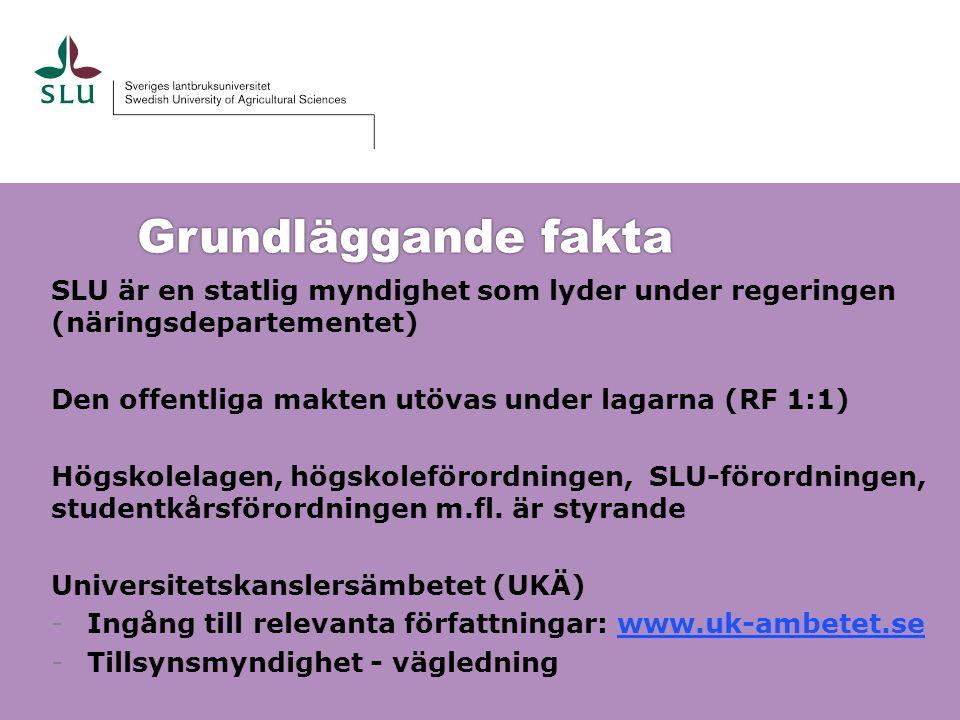Grundläggande fakta SLU är en statlig myndighet som lyder under regeringen (näringsdepartementet) Den offentliga makten utövas under lagarna (RF 1:1)