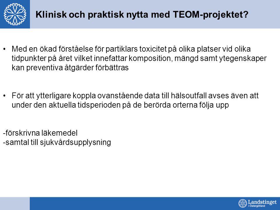Klinisk och praktisk nytta med TEOM-projektet.