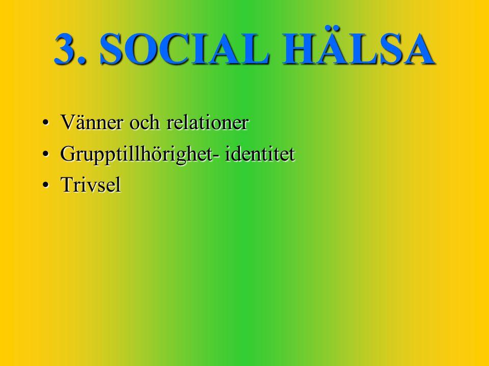 3. SOCIAL HÄLSA Vänner och relationerVänner och relationer Grupptillhörighet- identitetGrupptillhörighet- identitet TrivselTrivsel