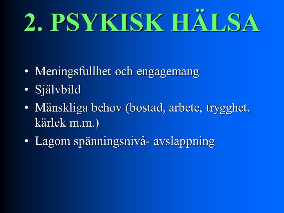 2. PSYKISK HÄLSA Meningsfullhet och engagemangMeningsfullhet och engagemang SjälvbildSjälvbild Mänskliga behov (bostad, arbete, trygghet, kärlek m.m.)