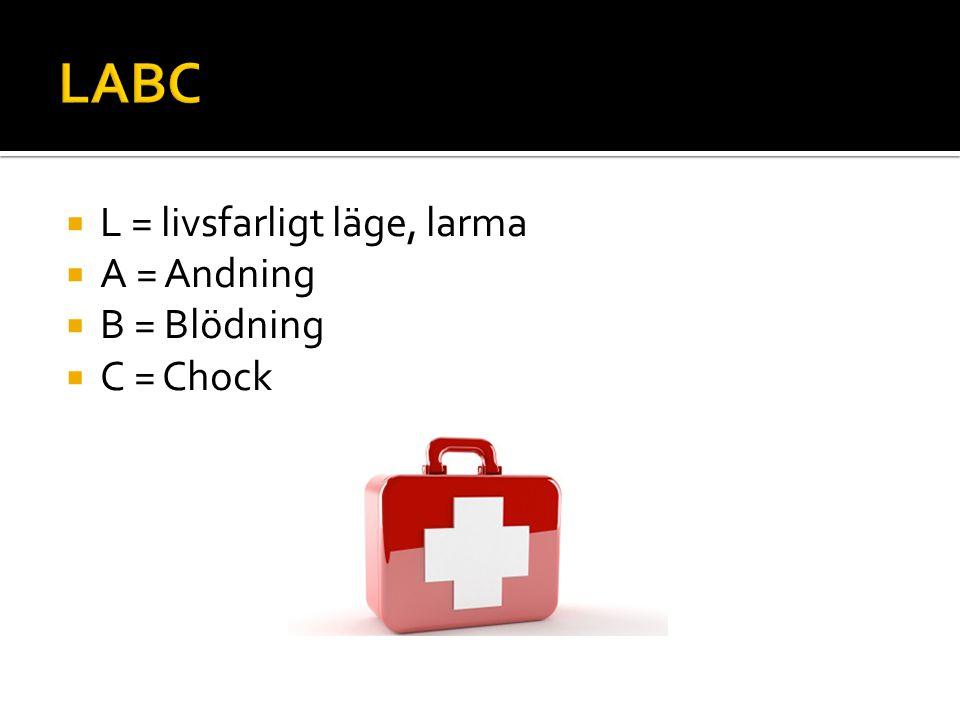  L = livsfarligt läge, larma  A = Andning  B = Blödning  C = Chock