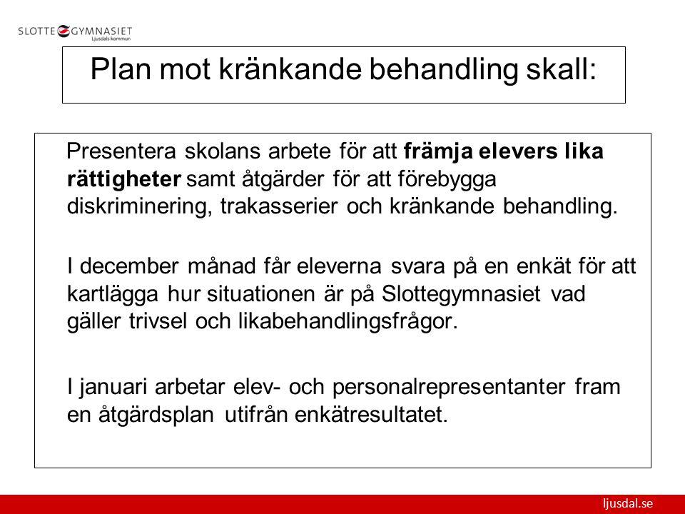 ljusdal.se Plan mot kränkande behandling skall: Presentera skolans arbete för att främja elevers lika rättigheter samt åtgärder för att förebygga disk