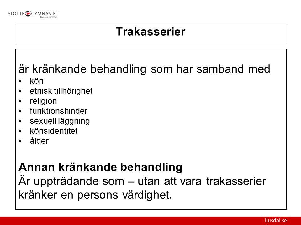ljusdal.se Trakasserier är kränkande behandling som har samband med kön etnisk tillhörighet religion funktionshinder sexuell läggning könsidentitet ål