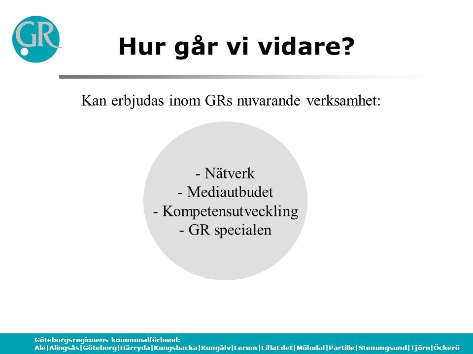 Göteborgsregionens kommunalförbund: Ale|Alingsås|Göteborg|Härryda|Kungsbacka|Kungälv|Lerum|LillaEdet|Mölndal|Partille|Stenungsund|Tjörn|Öckerö - Nätverk - Mediautbudet - Kompetensutveckling - GR specialen Hur går vi vidare.
