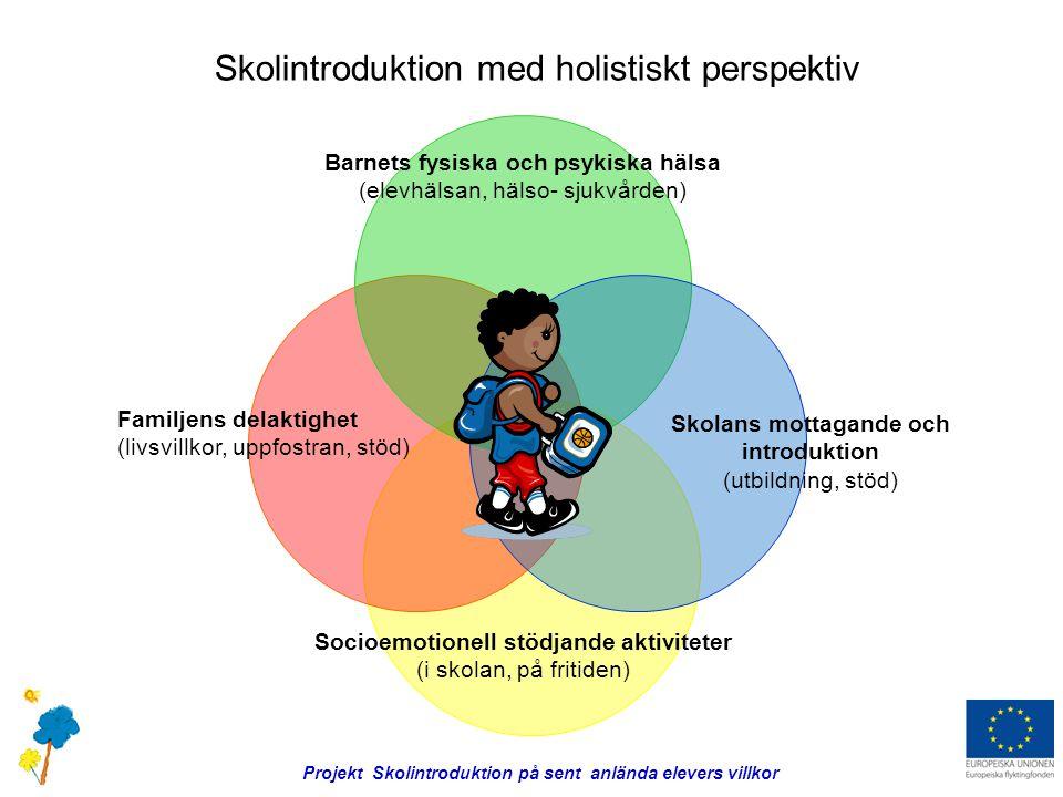 Familjens delaktighet (livsvillkor, uppfostran, stöd) Skolans mottagande och introduktion (utbildning, stöd) Socioemotionell stödjande aktiviteter (i skolan, på fritiden) Barnets fysiska och psykiska hälsa (elevhälsan, hälso- sjukvården) Projekt Skolintroduktion på sent anlända elevers villkor Skolintroduktion med holistiskt perspektiv