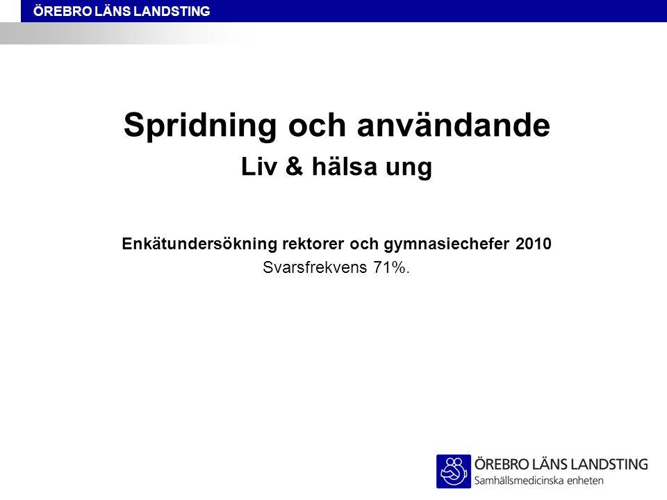 ÖREBRO LÄNS LANDSTING Spridning och användande Liv & hälsa ung Enkätundersökning rektorer och gymnasiechefer 2010 Svarsfrekvens 71%.