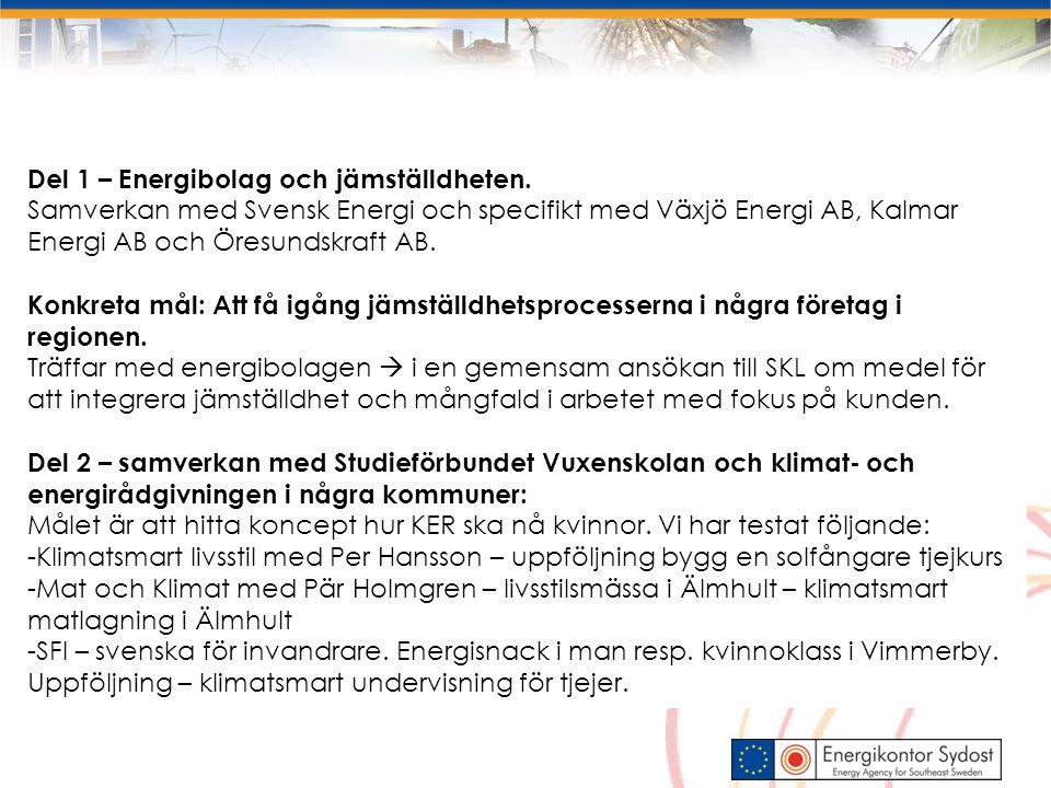 Mål: att utbilda 30 energiambassadörer Varav minst 20 ska vara aktiva som ska… Stötta hushåll med enkel energirådgivning får en utbildning och material att använda inom ramen för sitt uppdrag i sin organisation t.ex.