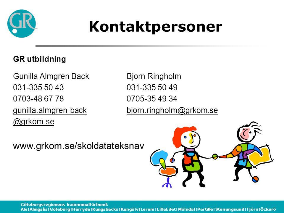 Göteborgsregionens kommunalförbund: Ale|Alingsås|Göteborg|Härryda|Kungsbacka|Kungälv|Lerum|LillaEdet|Mölndal|Partille|Stenungsund|Tjörn|Öckerö Kontaktpersoner GR utbildning Gunilla Almgren BäckBjörn Ringholm 031-335 50 43031-335 50 49 0703-48 67 780705-35 49 34 gunilla.almgren-backbjorn.ringholm@grkom.se @grkom.se www.grkom.se/skoldatateksnav