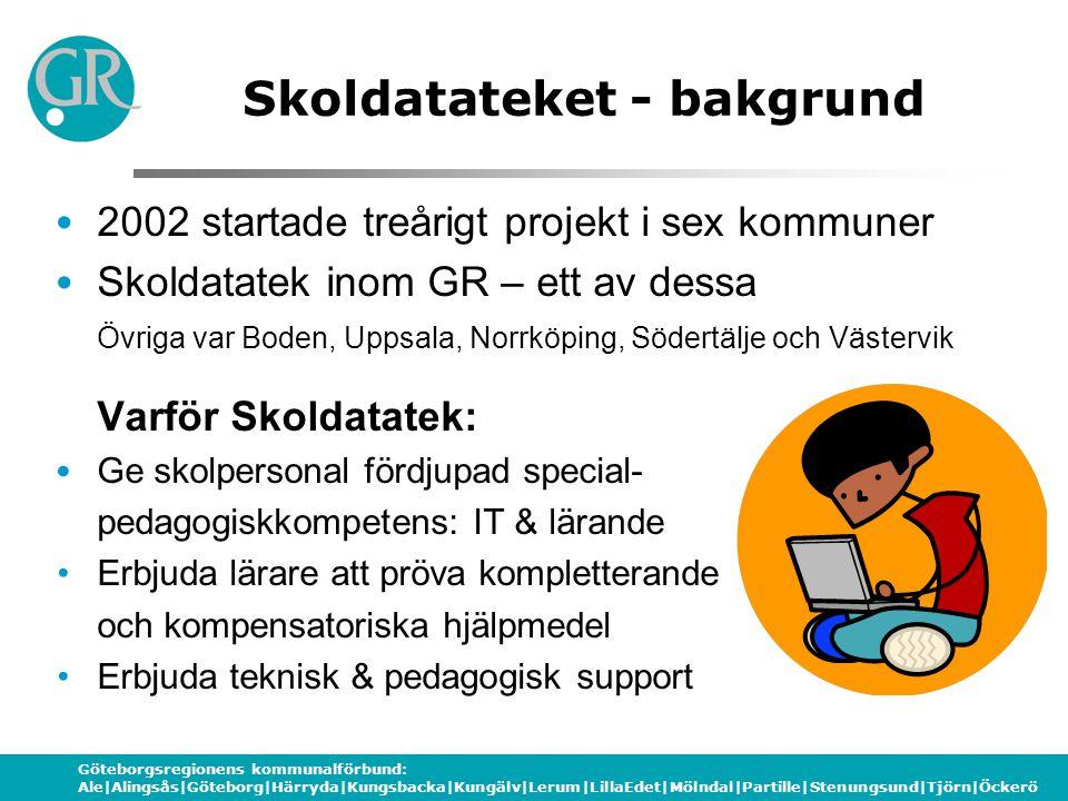 Göteborgsregionens kommunalförbund: Ale|Alingsås|Göteborg|Härryda|Kungsbacka|Kungälv|Lerum|LillaEdet|Mölndal|Partille|Stenungsund|Tjörn|Öckerö Skoldatateket - bakgrund 2002 startade treårigt projekt i sex kommuner Skoldatatek inom GR – ett av dessa Övriga var Boden, Uppsala, Norrköping, Södertälje och Västervik Varför Skoldatatek: Ge skolpersonal fördjupad special- pedagogiskkompetens: IT & lärande Erbjuda lärare att pröva kompletterande och kompensatoriska hjälpmedel Erbjuda teknisk & pedagogisk support