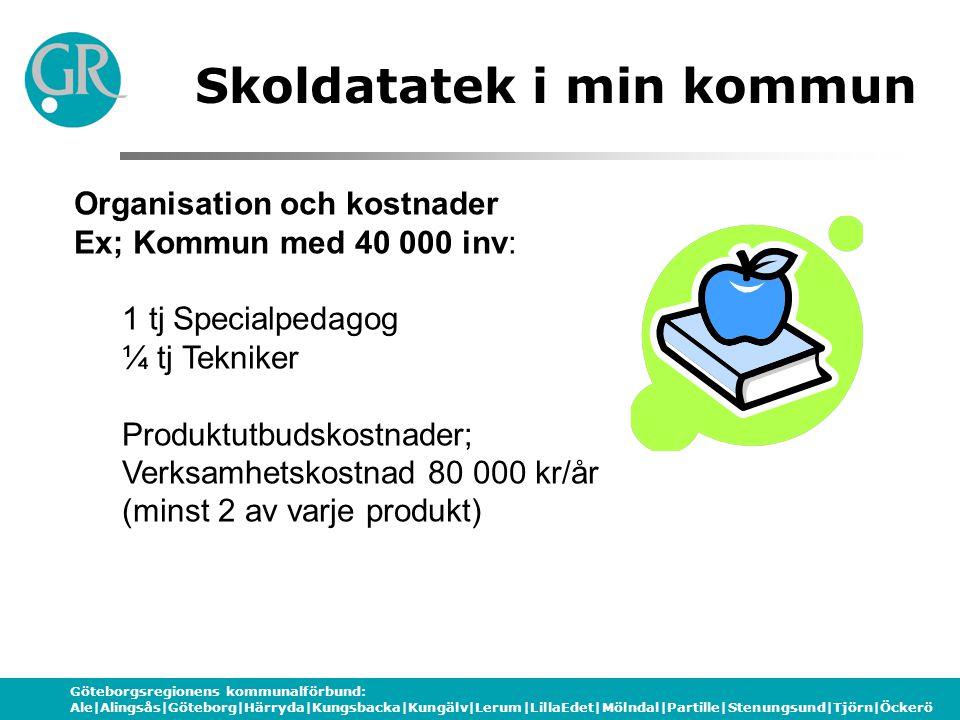 Göteborgsregionens kommunalförbund: Ale|Alingsås|Göteborg|Härryda|Kungsbacka|Kungälv|Lerum|LillaEdet|Mölndal|Partille|Stenungsund|Tjörn|Öckerö Organisation och kostnader Ex; Kommun med 40 000 inv: 1 tj Specialpedagog ¼ tj Tekniker Produktutbudskostnader; Verksamhetskostnad 80 000 kr/år (minst 2 av varje produkt) Skoldatatek i min kommun