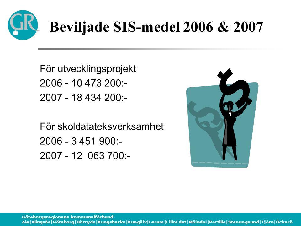 Göteborgsregionens kommunalförbund: Ale|Alingsås|Göteborg|Härryda|Kungsbacka|Kungälv|Lerum|LillaEdet|Mölndal|Partille|Stenungsund|Tjörn|Öckerö För utvecklingsprojekt 2006 - 10 473 200:- 2007 - 18 434 200:- För skoldatateksverksamhet 2006 - 3 451 900:- 2007 - 12 063 700:- Beviljade SIS-medel 2006 & 2007
