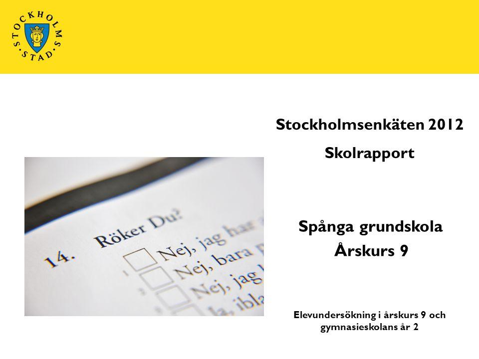 Elevundersökning i årskurs 9 och gymnasieskolans år 2 Stockholmsenkäten 2012 Skolrapport Spånga grundskola Årskurs 9