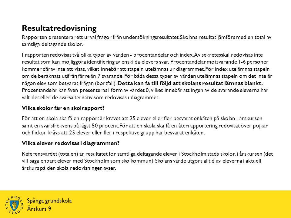 Resultatredovisning Spånga grundskola Årskurs 9 Rapporten presenterar ett urval frågor från undersökningsresultatet.