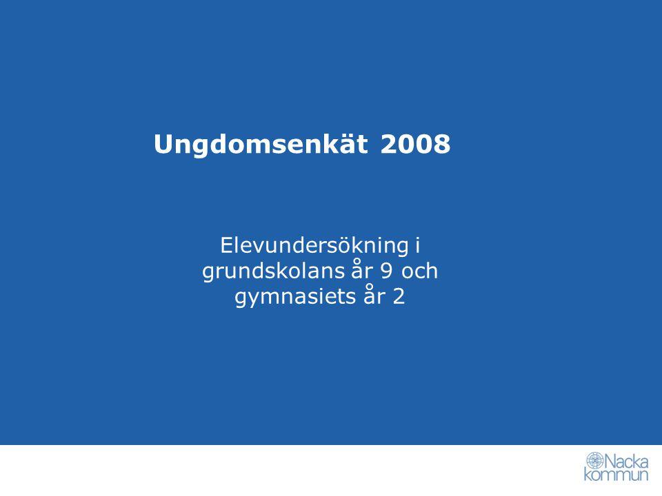 Ungdomsenkät 2008 Elevundersökning i grundskolans år 9 och gymnasiets år 2