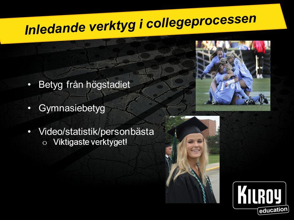 Inledande verktyg i collegeprocessen Betyg från högstadiet Gymnasiebetyg Video/statistik/personbästa o Viktigaste verktyget!