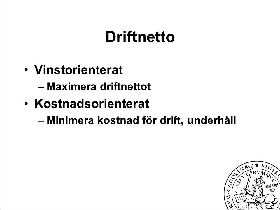Driftnetto Vinstorienterat –Maximera driftnettot Kostnadsorienterat –Minimera kostnad för drift, underhåll