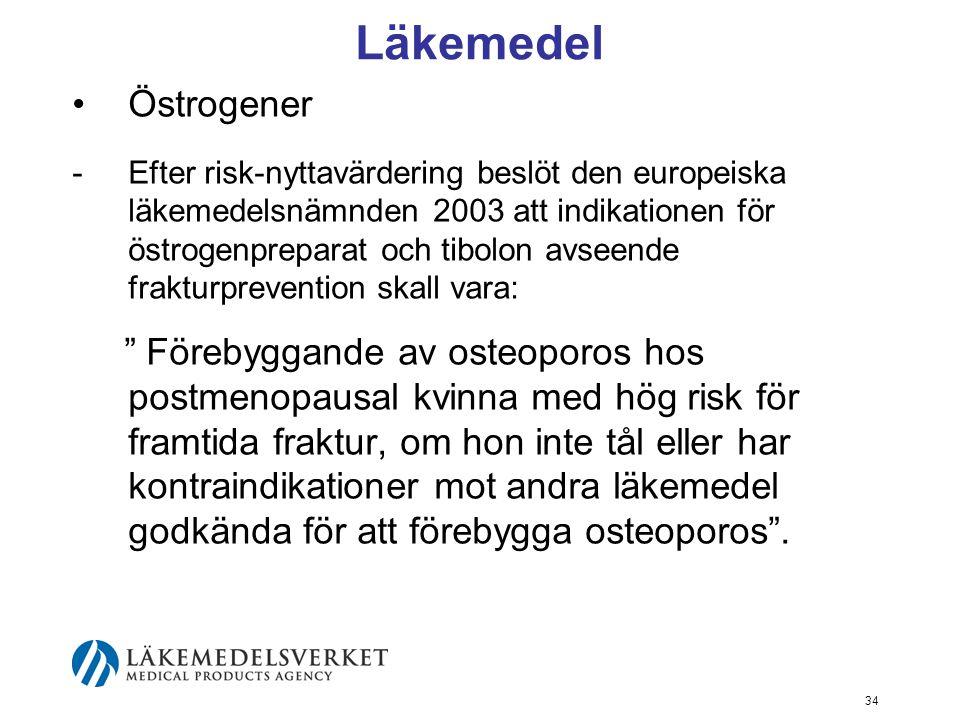 34 Läkemedel Östrogener - Efter risk-nyttavärdering beslöt den europeiska läkemedelsnämnden 2003 att indikationen för östrogenpreparat och tibolon avseende frakturprevention skall vara: Förebyggande av osteoporos hos postmenopausal kvinna med hög risk för framtida fraktur, om hon inte tål eller har kontraindikationer mot andra läkemedel godkända för att förebygga osteoporos .