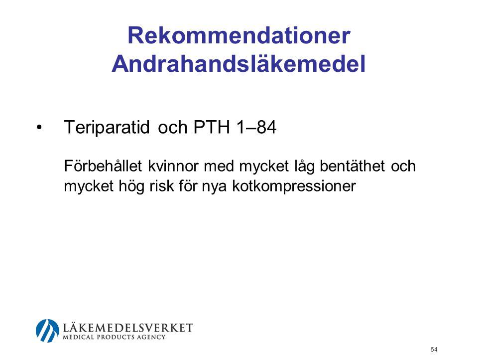 54 Rekommendationer Andrahandsläkemedel Teriparatid och PTH 1–84 Förbehållet kvinnor med mycket låg bentäthet och mycket hög risk för nya kotkompressioner