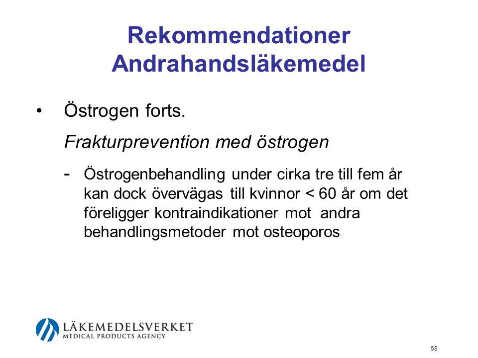 58 Rekommendationer Andrahandsläkemedel Östrogen forts.