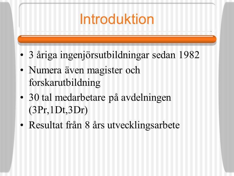 Introduktion 3 åriga ingenjörsutbildningar sedan 1982 Numera även magister och forskarutbildning 30 tal medarbetare på avdelningen (3Pr,1Dt,3Dr) Resultat från 8 års utvecklingsarbete