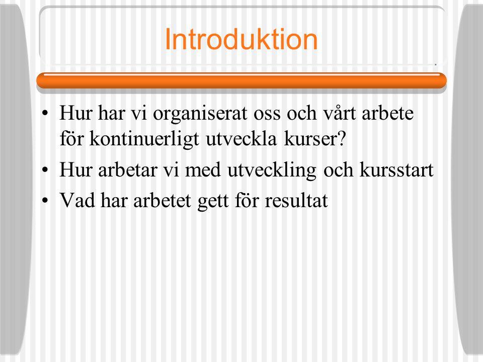 Introduktion Hur har vi organiserat oss och vårt arbete för kontinuerligt utveckla kurser.