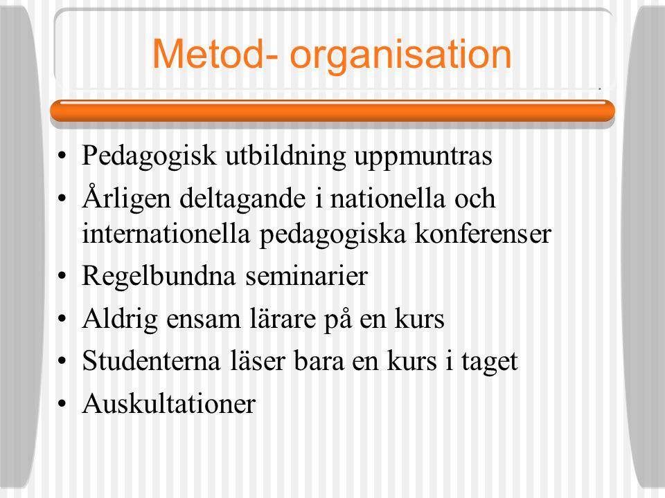 Metod- organisation Pedagogisk utbildning uppmuntras Årligen deltagande i nationella och internationella pedagogiska konferenser Regelbundna seminarier Aldrig ensam lärare på en kurs Studenterna läser bara en kurs i taget Auskultationer