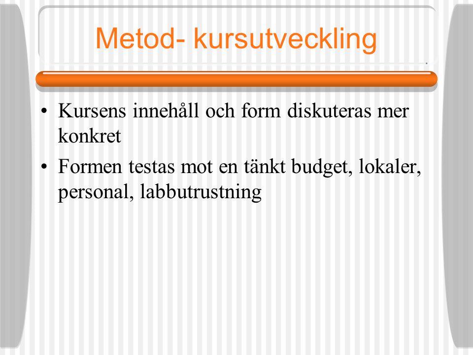 Metod- kursutveckling Kursens innehåll och form diskuteras mer konkret Formen testas mot en tänkt budget, lokaler, personal, labb utrustning Om innehåll och form inte fungerar med de förutsättningar vi har; BÖRJA OM