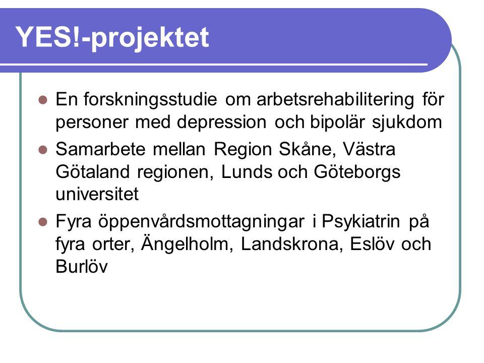 YES!-projektet En forskningsstudie om arbetsrehabilitering för personer med depression och bipolär sjukdom Samarbete mellan Region Skåne, Västra Götal