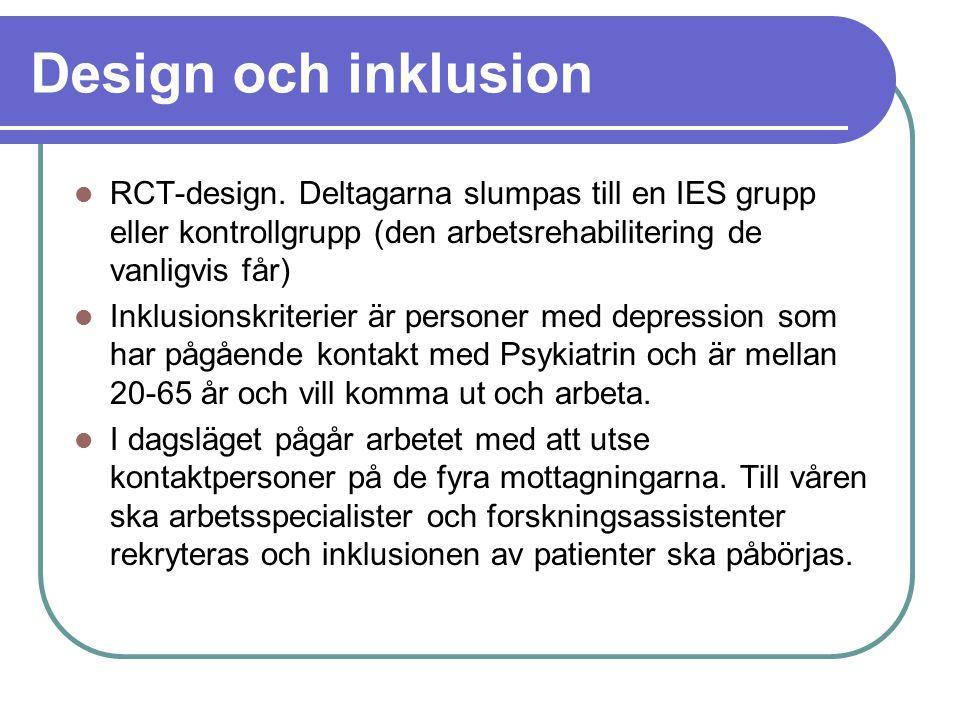 Design och inklusion RCT-design. Deltagarna slumpas till en IES grupp eller kontrollgrupp (den arbetsrehabilitering de vanligvis får) Inklusionskriter