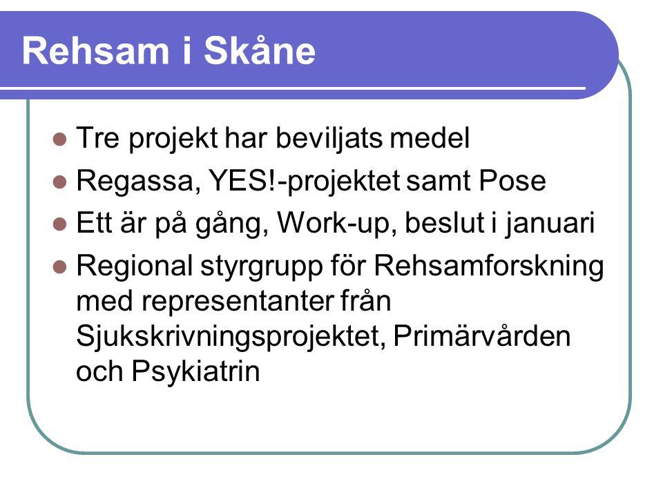 Rehsam i Skåne Tre projekt har beviljats medel Regassa, YES!-projektet samt Pose Ett är på gång, Work-up, beslut i januari Regional styrgrupp för Rehs