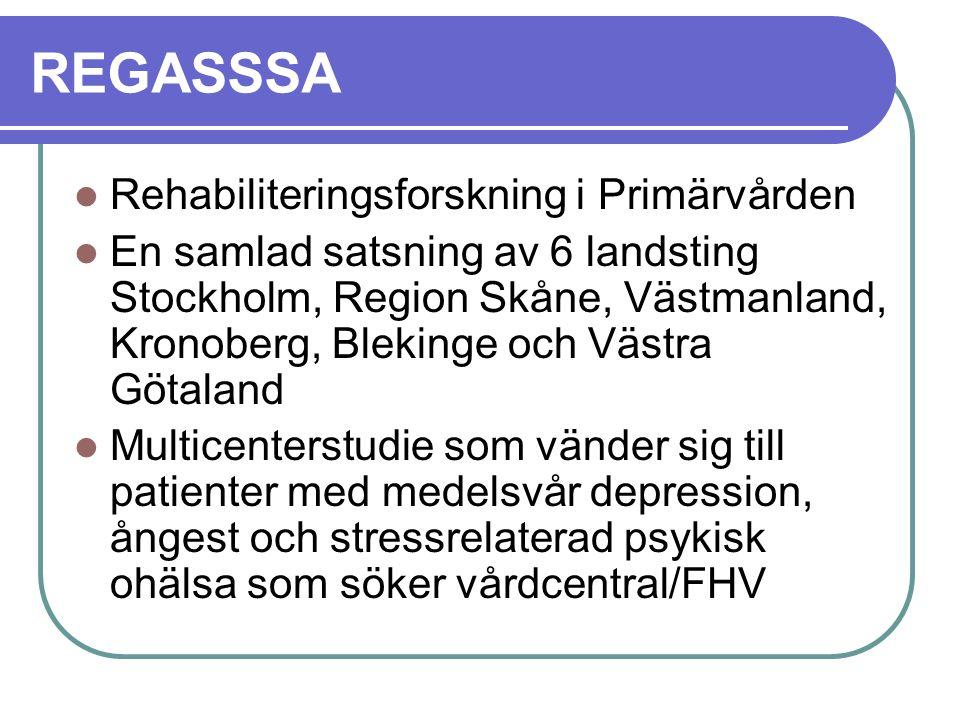 REGASSSA Rehabiliteringsforskning i Primärvården En samlad satsning av 6 landsting Stockholm, Region Skåne, Västmanland, Kronoberg, Blekinge och Västr