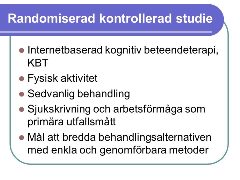 Randomiserad kontrollerad studie Internetbaserad kognitiv beteendeterapi, KBT Fysisk aktivitet Sedvanlig behandling Sjukskrivning och arbetsförmåga so