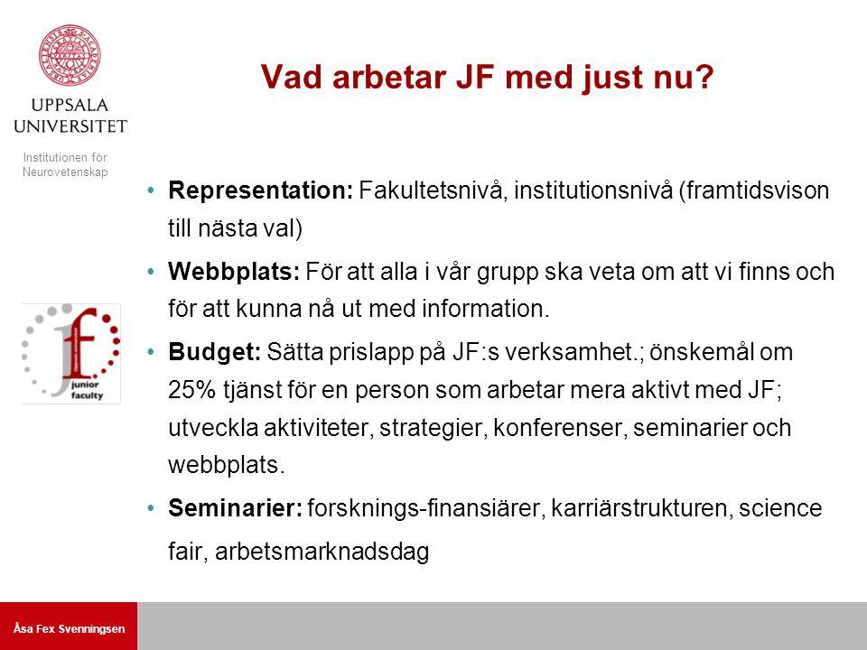 Åsa Fex Svenningsen Institutionen för Neurovetenskap Vad arbetar JF med just nu.