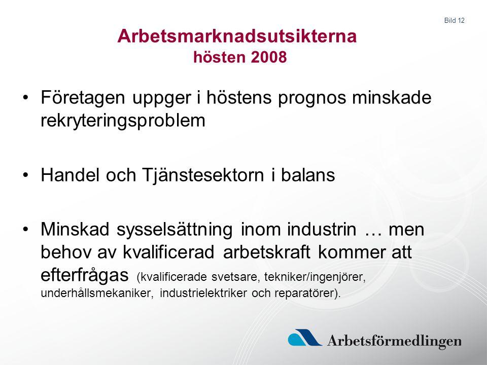 Bild 12 Arbetsmarknadsutsikterna hösten 2008 Företagen uppger i höstens prognos minskade rekryteringsproblem Handel och Tjänstesektorn i balans Minska