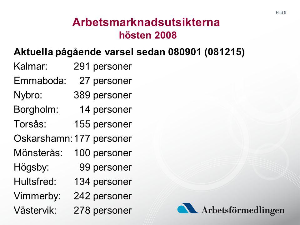 Bild 9 Arbetsmarknadsutsikterna hösten 2008 Aktuella pågående varsel sedan 080901 (081215) Kalmar:291 personer Emmaboda: 27 personer Nybro:389 persone