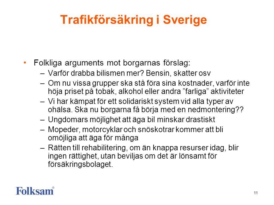 11 Trafikförsäkring i Sverige Folkliga arguments mot borgarnas förslag: –Varför drabba bilismen mer? Bensin, skatter osv –Om nu vissa grupper ska stå