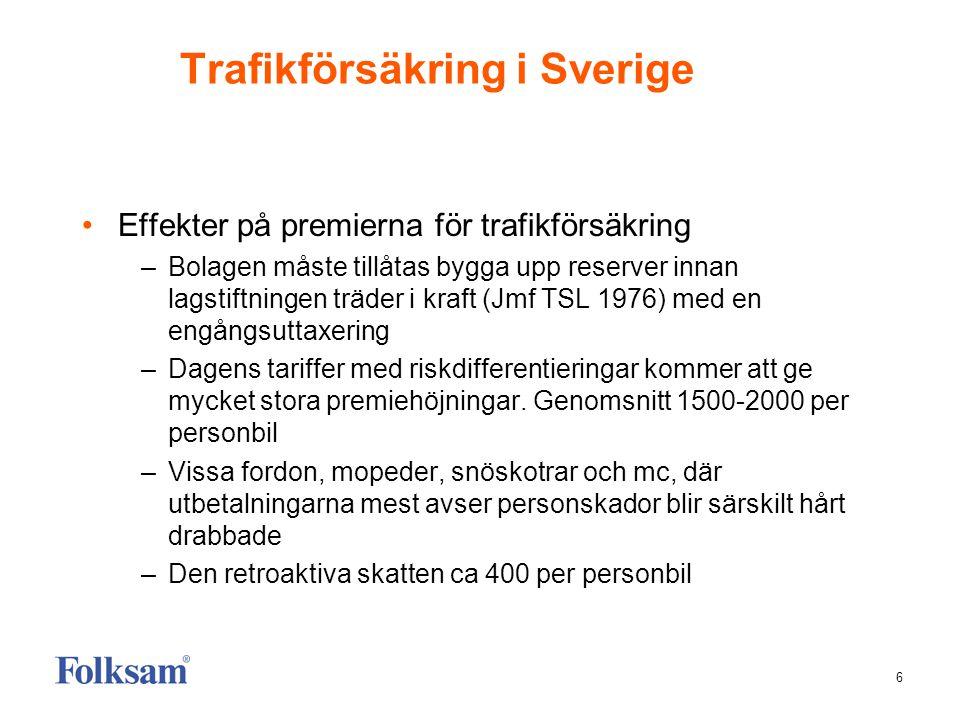 6 Trafikförsäkring i Sverige Effekter på premierna för trafikförsäkring –Bolagen måste tillåtas bygga upp reserver innan lagstiftningen träder i kraft (Jmf TSL 1976) med en engångsuttaxering –Dagens tariffer med riskdifferentieringar kommer att ge mycket stora premiehöjningar.