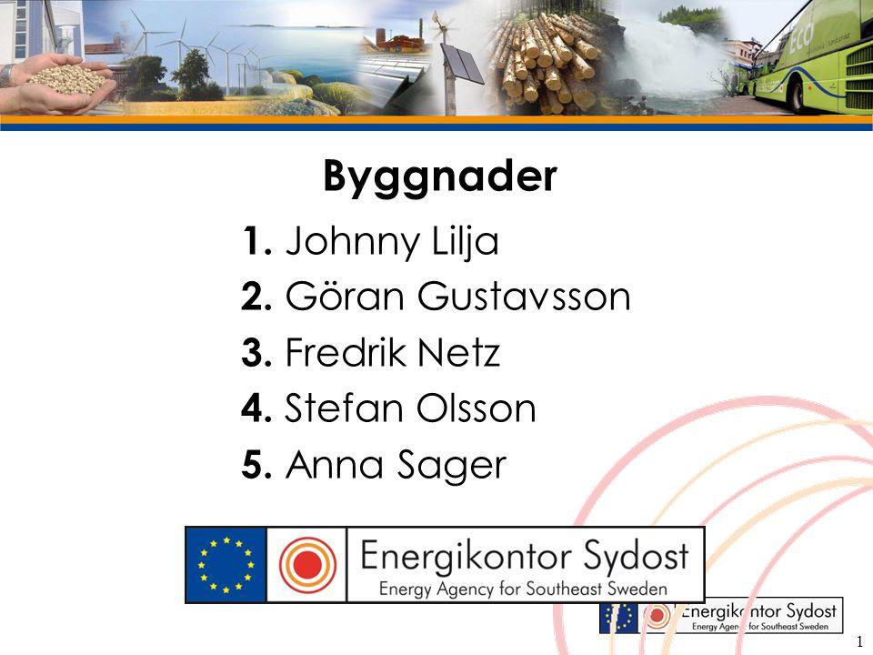 Byggnader 1. Johnny Lilja 2. Göran Gustavsson 3. Fredrik Netz 4. Stefan Olsson 5. Anna Sager 1