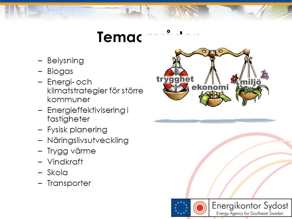 Temaområden – Belysning – Biogas – Energi- och klimatstrategier för större kommuner – Energieffektivisering i fastigheter – Fysisk planering – Närings
