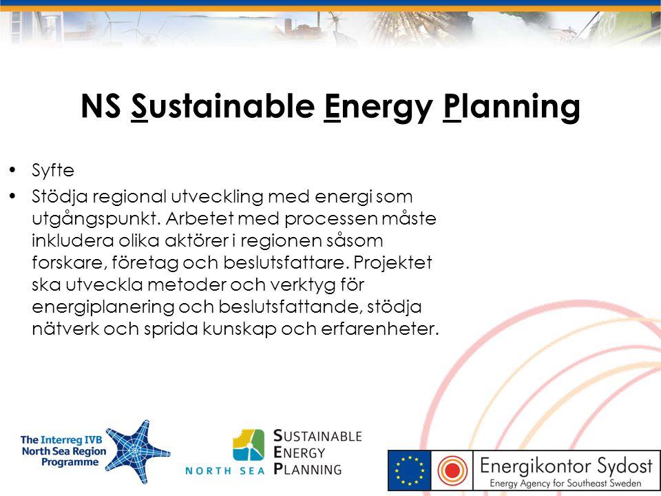 NS Sustainable Energy Planning Syfte Stödja regional utveckling med energi som utgångspunkt. Arbetet med processen måste inkludera olika aktörer i reg