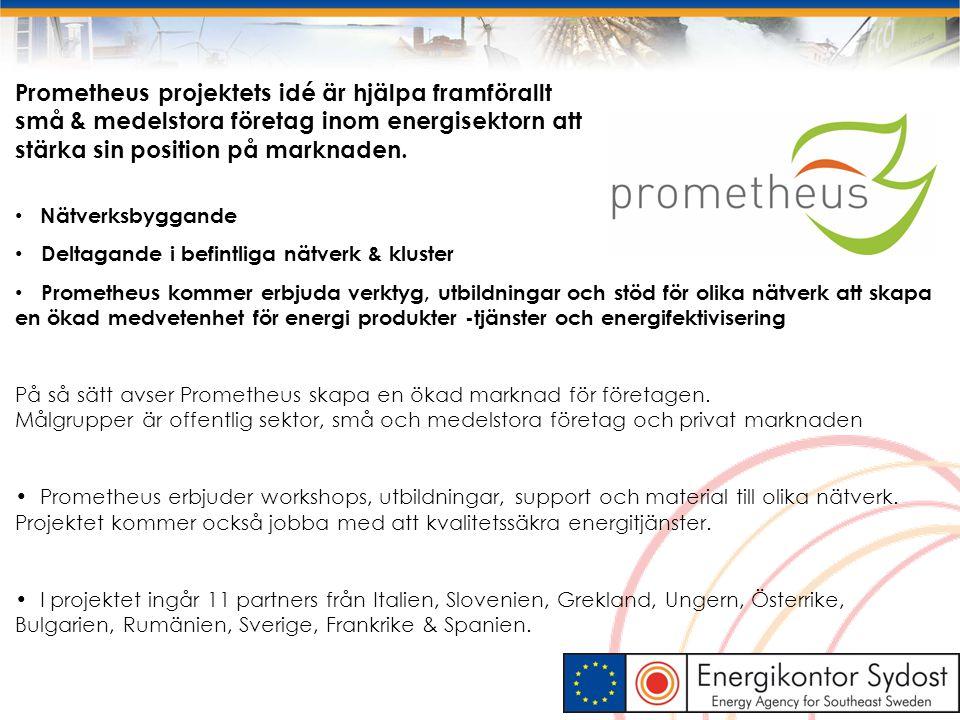 Prometheus projektets idé är hjälpa framförallt små & medelstora företag inom energisektorn att stärka sin position på marknaden. Nätverksbyggande Del
