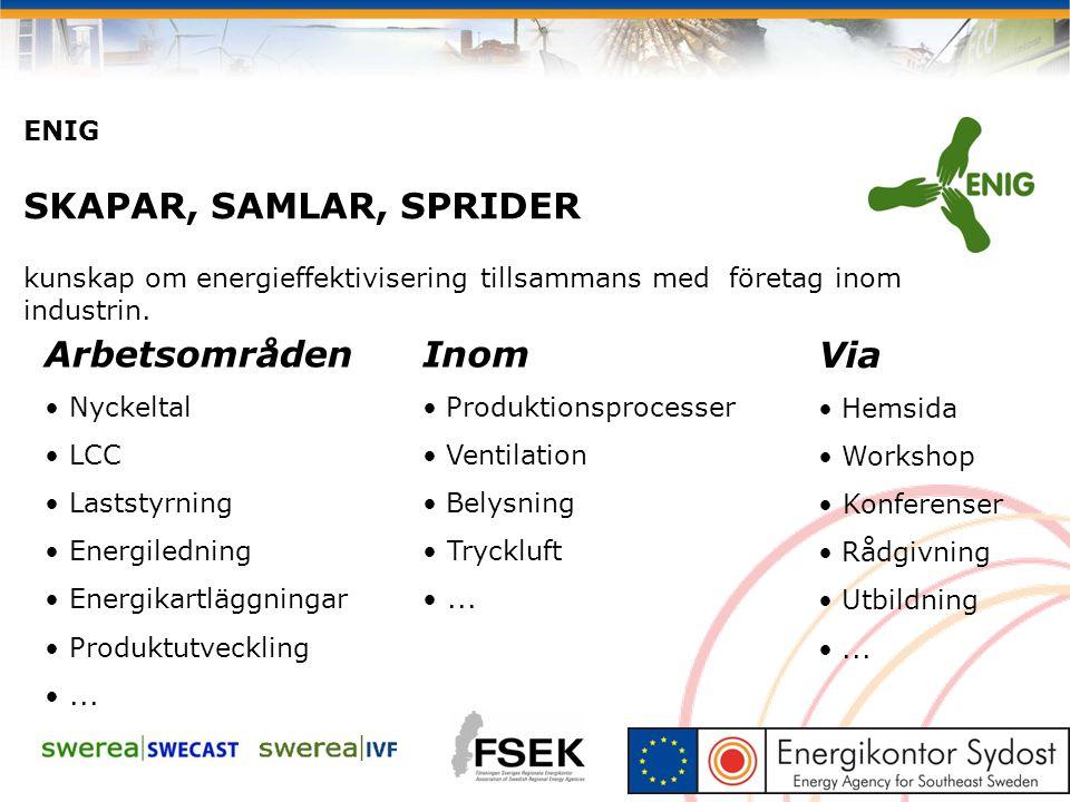 ENIG SKAPAR, SAMLAR, SPRIDER kunskap om energieffektivisering tillsammans med företag inom industrin. Arbetsområden Nyckeltal LCC Laststyrning Energil