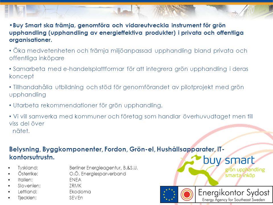 Buy Smart ska främja, genomföra och vidareutveckla instrument för grön upphandling (upphandling av energieffektiva produkter) i privata och offentliga
